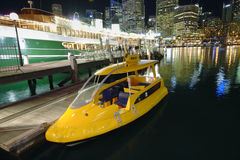 Sydney Water Taxi. Water taxi parked or docked at the Darling Harbour in Sydney Stock Photo