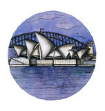 The Sydney  watercolor hand drawing, famouse arhitectural buillding isolated Royalty Free Stock Images