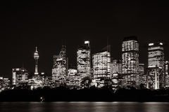 Sydney Waterfront Skyline in black and white Royalty Free Stock Images