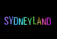 Sydneyland durante Sydney vívido Fotografia de Stock Royalty Free
