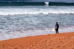 Sydneysiders die op de koudste dag surfen dit jaar Stock Fotografie