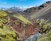 Sydri —Emstrua kanjon, Fjallabak naturreserv, Island Arkivbild
