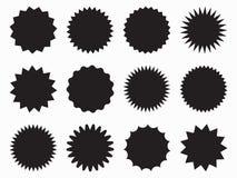 Sygnałowa ikona, fi wektorowy wektorowy starburst iconSet, sunburst odznaki Czarne ikony na białym tle Prosty mieszkanie stylu ro royalty ilustracja