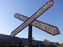 Sygnałowy kolejowy równy skrzyżowanie Fotografia Royalty Free