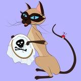 Syjamskiego kota krzyża zaszywania ilustracja Odizolowywająca na błękicie Obraz Stock