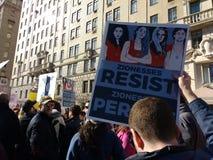 Syjonizm, kobiety ` s Marzec, Zionesses Opiera się, NYC, NY, usa Zdjęcie Stock