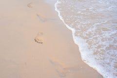 sylt острова Германии следа ноги пляжа Стоковые Фотографии RF