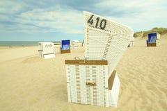 Sylt beach chairs stock photo