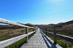 Sylt beach wooden bridge Royalty Free Stock Photos