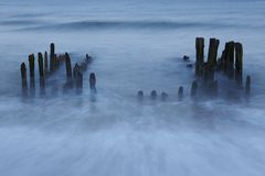 Sylt (Germany) - Groin in the evening (long time exposure) Stock Images