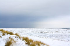 Sylt in winter. The island Sylt in northern Germany in winter. The sea is covered with ice floes. View northward on the east coast from List with a snowstorm royalty free stock photo