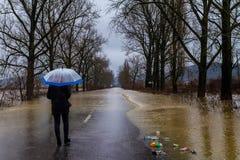 Winter flood in Transcarpathian region of Ukraine royalty free stock image
