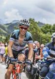 Sylvain Chavanel Climbing Alpe D'Huez Stock Afbeeldingen