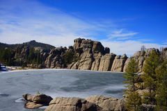 Sylvan Lake. A beautiful frozen Sylvan Lake hidden in the Black Hills of South Dakota Stock Photo
