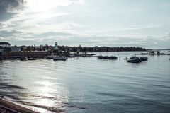 Free Sylvan Lake, Canada, 22 July, 2019 / View Of The Lake And The Boat Harbour At Sunset Stock Photo - 162311000