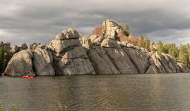 Sylvan Lake formation. An unusual rock formation on the bank of Sylvan Lake in South Dakota Stock Photo
