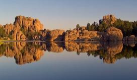 Sylvan Lake Reflection. Sylvan Lake, Custer State Park. South Dakota Stock Images