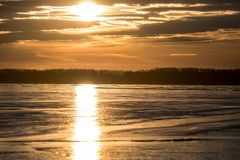 Sylvan Lake Sunset Over The Ice Royalty Free Stock Photography