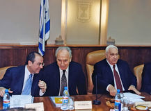 14.Sylvan Shalom, Shimon Peres and Ariel Sharon Royalty Free Stock Photo