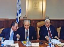 14. Sylvan Shalom, Shimon Peres och Ariel Sharon Royaltyfri Foto