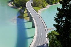 Sylvenstein Lake and Bridge, Bavaria, Germany Stock Photo