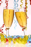 Sylvester. Two champagne glasses clink for new year on sylvester Stock Photo