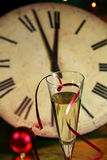 Sylvester. Champagne glasses for new year on sylvester. Five minutes to midnight. Happy new Year Royalty Free Stock Photo