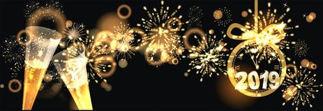 Happy New Year background  with firework. Sylvester background at night with big golden firework reflection and Happy New Year greetings Royalty Free Stock Photos