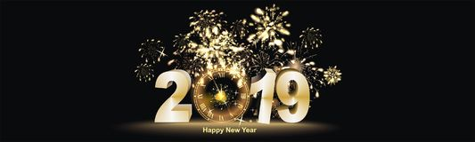 Happy New Year background  with firework. Sylvester background at night with big golden firework reflection and Happy New Year greetings Stock Images