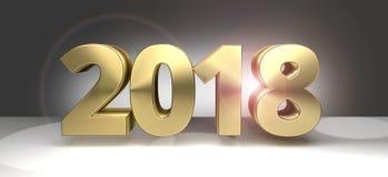 2018 sylvester dorato 2018 3D audaci Immagine Stock Libera da Diritti