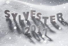 Sylvester 2017 Noche Vieja, letras blancas, nieve, copos de nieve los medios Imagen de archivo