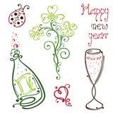 Sylvester nya år helgdagsafton royaltyfri illustrationer