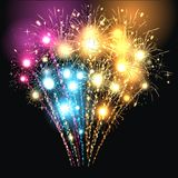 Sylvester party aund fireworks. Colourful fireworks aund sylvester party Royalty Free Stock Image