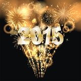 Sylvester 2015. Party background with firework of the year 2015 Stock Images