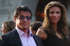 Sylvester Stallone. And wife Jennifer arriving at the premiere of the movie Ironman 2 Royalty Free Stock Photography