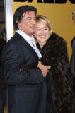 Sylvester Stallone. & SHARON STONE at the world premiere of his new movie Rocky Balboa at the Grauman's Chinese Theatre, Hollywood. December 13, 2006  Los Royalty Free Stock Images