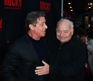 Sylvester Stallone, Burt Young. NEW YORK-MAR 13: Actors Sylvester Stallone (L) and Burt Young attend the 'Rocky' Broadway opening night at the Winter Garden Stock Images