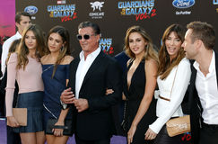 Sylvester Stallone, Scarlet Rose Stallone, Sistine Rose Stallone, Sophia Rose Stallone, Jennifer Flavin and Frank Stallone Stock Photos