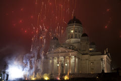 Sylvesterabend der Feuerwerke Stockbild