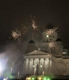 Sylvesterabend der Feuerwerke Stockfotografie