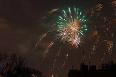 Sylvesterabende Feuerwerksbildschirmanzeige Stockbild