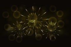 Sylvesterabende goldene Feuerwerke mit unscharfem glühendem goldenem bokeh stockfotos