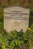Sylvia Plath Gravestone. The American Poet Sylvia Plath is burried In Heptonstall, Yorkshire, England royalty free stock photo