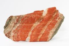 sylvinite矿物也钾盐或或氯化钾夹心蛋糕与氯化钠在白色背景 免版税库存图片