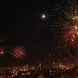 Sylwesterów fajerwerki w mieście Arequipa, Peru. Zdjęcie Stock