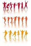 sylwetek dancingowi ludzie Obrazy Stock