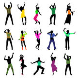 sylwetek dancingowi ludzie Zdjęcia Stock