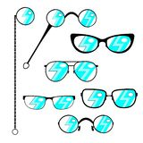 Sylwetek eyeglasses ustawiający Ramy nowożytni, rocznik szkła z eleganckim płaskim świeceniem lub, także Wektor il royalty ilustracja