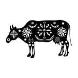 Sylwetek krowy ornamentują tradycyjny antycznego zaludniają India Obrazy Royalty Free