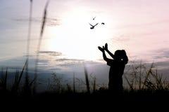 sylwetek ludzie robi ręce jako ptaka i uwolnienia ptaki zdjęcie royalty free
